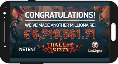 Nytt rekord i störst jackpott från mobilcasino