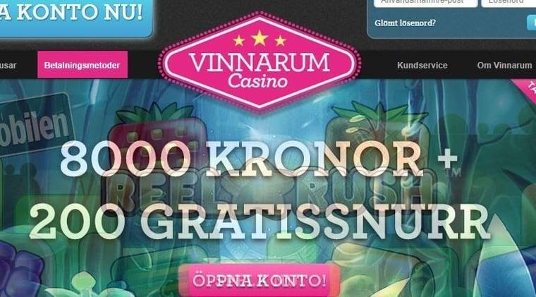 8000 kronor och 200 free spins på Vinnarum Casino!