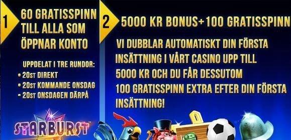 Sverigekronan erbjuder 5000 kronor i bonus och 160 free spins!