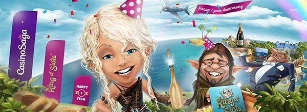 CasinoSaga fyller 1 år och firar såklart!