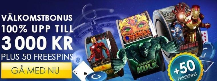 3000kr & 50 freespins hos Gala Casino
