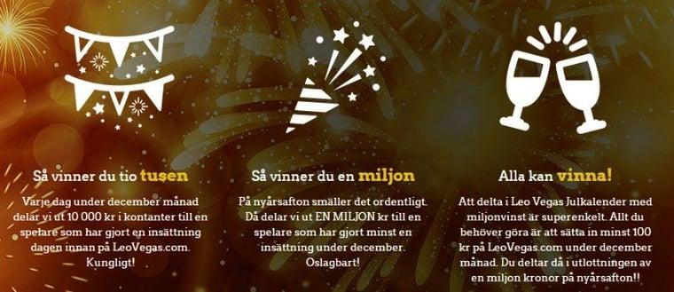 10000 kronor varje dag resten av året hos LeoVegas